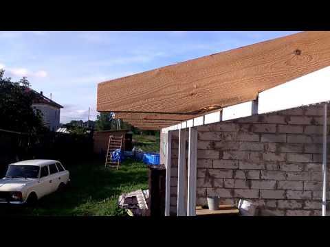 Пристройка к дому в виде гаража,стропила,столбы.часть1