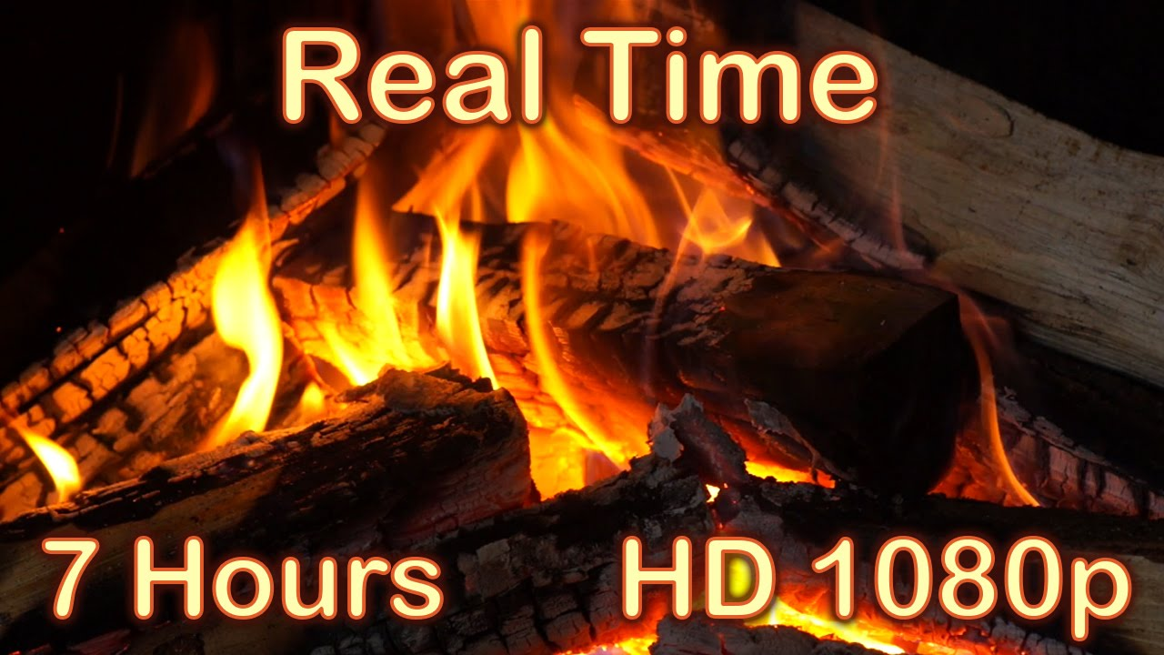 7 hours fireplace burning real time fireplace sounds