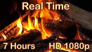 ✰ 7 HOURS ✰ Fireplace Burning ✰ REAL TIME ✰ NO LOOP ✰ Fireplace Sounds ♫ Relaxing Fire HD 1080p ✰