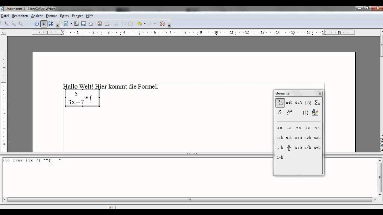 OpenOffice: Einführung in den Formeleditor - YouTube