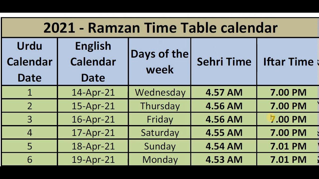 Ramadan Calendar 2022.2021 Ramadan Time Table 2021 Ramzan Time Table Youtube