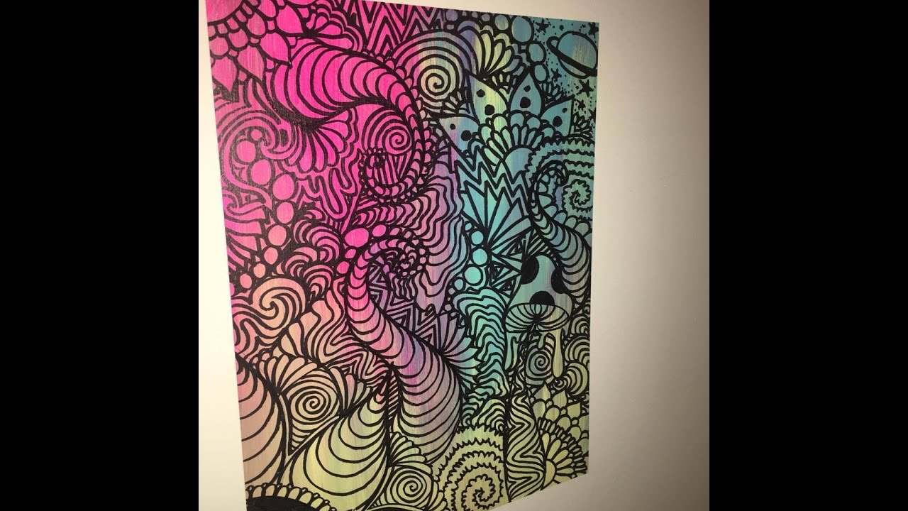 how to make TRIPPY WALL ART - YouTube