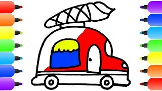Learn colors for Kids with Ice Cream Truck Coloring Pages | Ho…