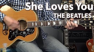 Video She Loves You by The Beatles - Guitar Tutorial download MP3, 3GP, MP4, WEBM, AVI, FLV Maret 2017