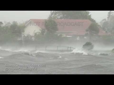 Cape Canaveral FL Storm Surge, Power flashes & Wind Damage - 10/7/2016