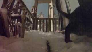 Melanie plays in the snow