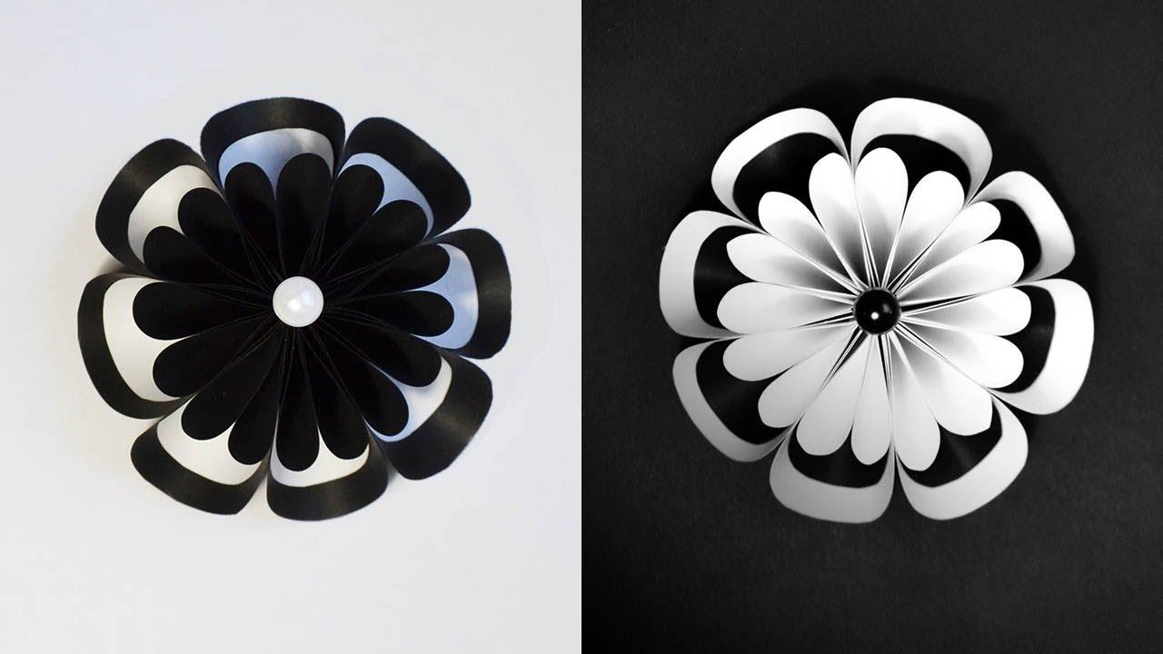 Amazing Paper Flower White And Black Origami Craft Tutorial Diy