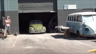 1955 VW BUG leaving Brickhaus Restorations after awesome wax and buff job Video
