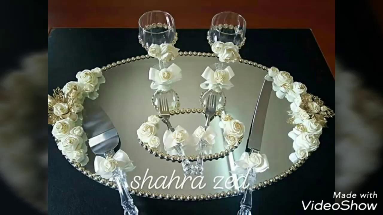 تزيين صينية الخطوبة على شكل مرٱة بيضوية الشكل Youtube Wine Glass Candle Holder Wine Bottle Art Wine Glass Candle