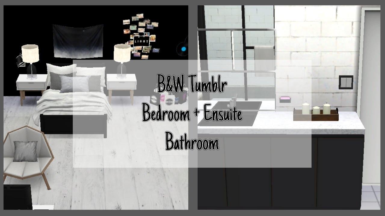 Sims 4 room build bw tumblr bedroom en suite bathroom kg