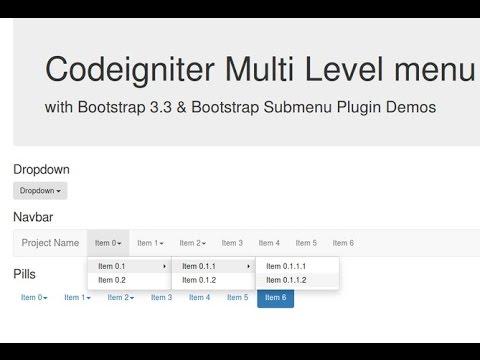 Codeigniter Library Multi Level Menu Youtube