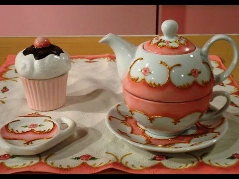 Como pintar porcelana tea for one youtube - Como pintar jarrones de ceramica ...