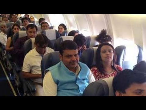 Maharashtra Chief Minister Devendra Fadnavis flies economy class to Nagpur