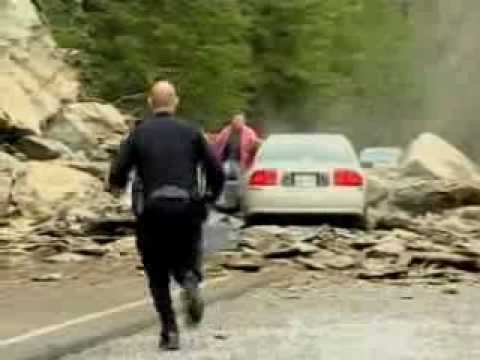 Man drives into a rockslide