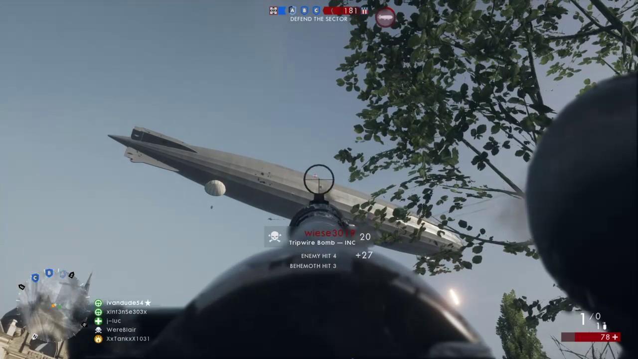 Battlefield™ 1: Trip-wire kill on blimp - YouTube