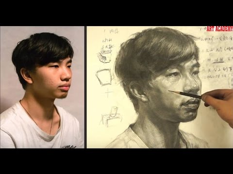Portrait Drawing in Process | young man