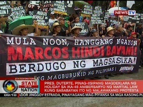 Pres. Duterte, pinag-iisipang magdeklara ng holiday sa ika-45 anibersaryo ng Martial Law