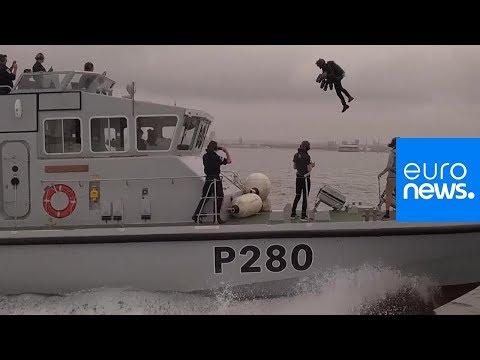 Watch: British inventor tests jetpack suit over open water