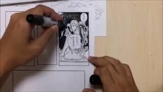 マンガの描き方 how to drawing comic 筆ペンで描く