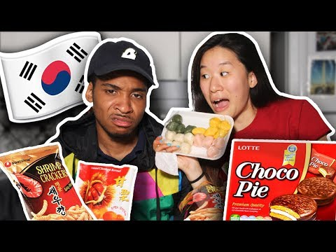 My Fiance Tries Korean Snacks For The First Time! | SLICE n RICE 🍕🍚