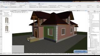ARCHICAD  project home lessons 21. (  Декорирование фасада( ландшафт и доработка покрытия))