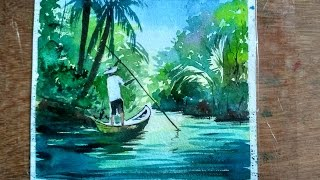 Watercolor Painting : Fishing Boats on River | Paint with david |