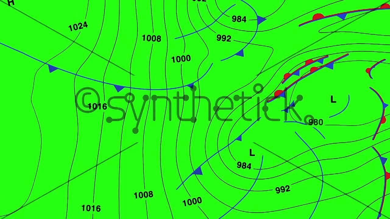 Animated Weather Forecast Map On Chroma Key Green Screen Background