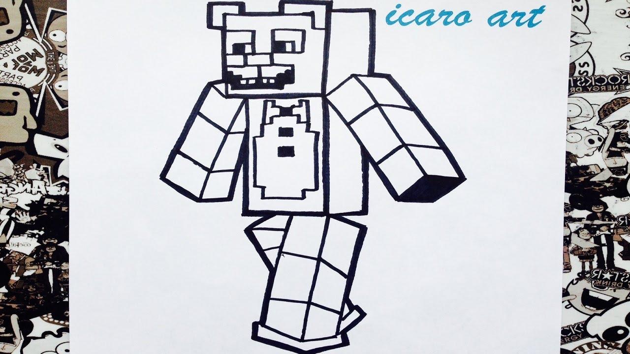 Imagenes Para Colorear De Maicraf: Como Dibujar A Freddy Minecraft