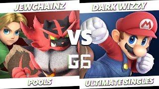 Glitch 6 SSBU - JewChainz (Young Link, Incineroar) VS Dark Wizzy (Mario) Smash Ultimate Pools