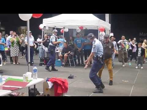 NSW Police Officer Dancing At PCYC Event, Martin Place