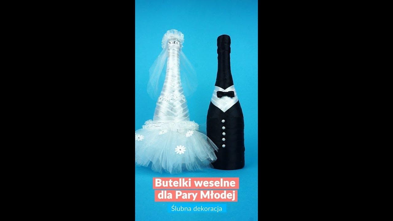 Modne ubrania Butelki weselne dla Młodej Pary - Ślubna Dekoracja (DIY) - YouTube LH78