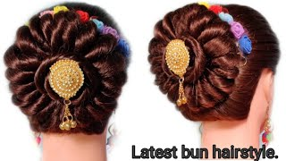 latests hairstyle for wedding &party.easy bun hairstyle.by latest hairstyle.