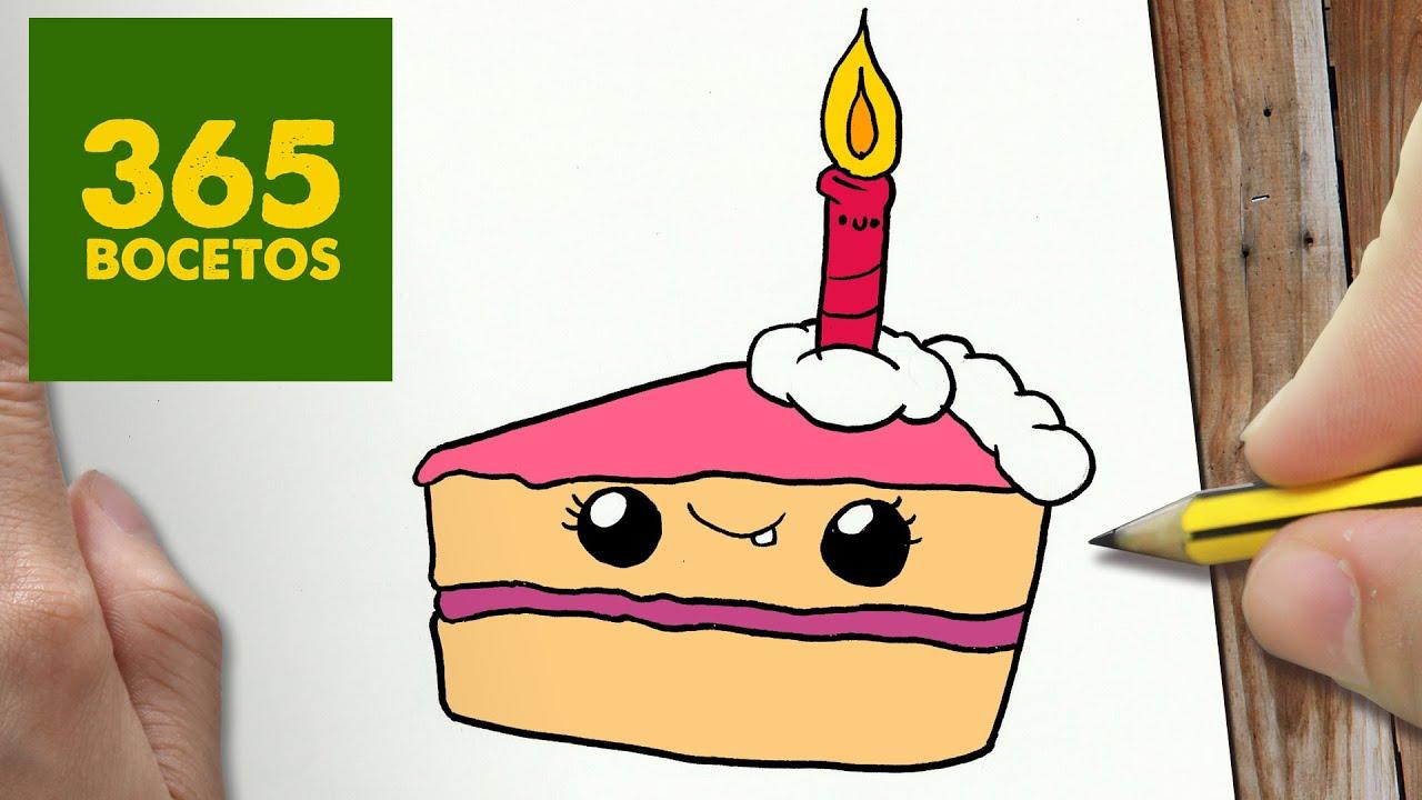 Dibuja Y Colorea Torta De Cumpleaños: COMO DIBUJAR TARTA KAWAII PASO A PASO