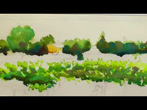 Winery Finery: A Classic Watercolor Landscape Of A Vineyard