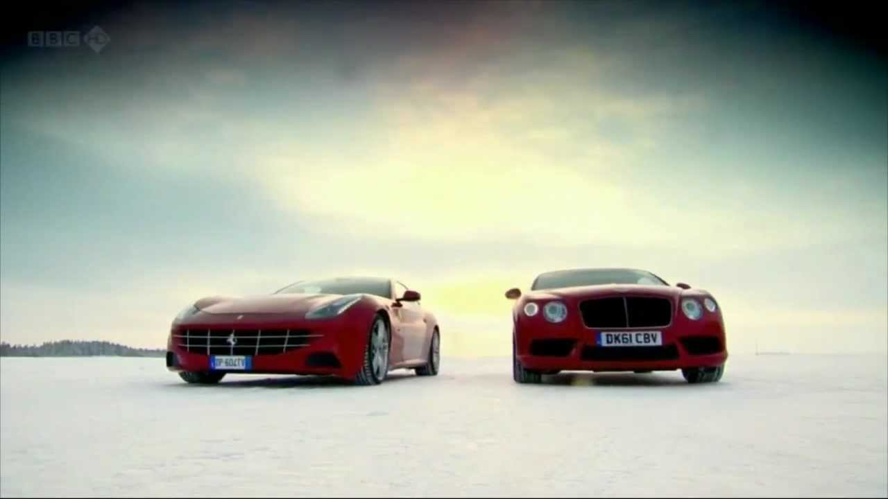Ferrari Ff Vs Bentley Continental Gt On Ice Youtube