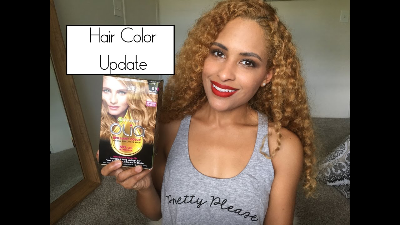 Hair Color Update Garnier Olia Medium Blonde 8 0 Youtube