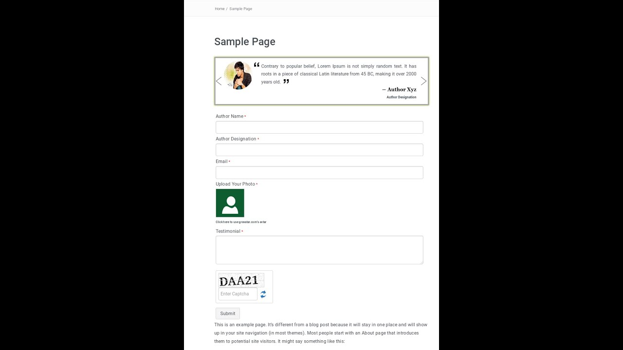 wordpress testimonial form & slider - YouTube