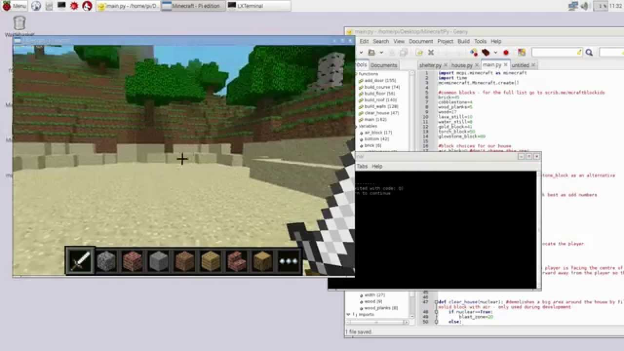 Using Python and Minecraft Pi on the Raspberry Pi