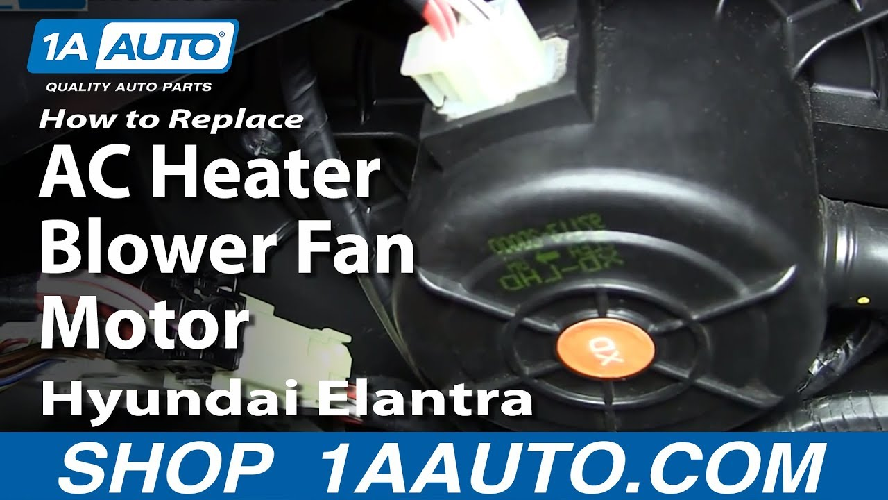 How To Replace Install Ac Heater Blower Fan Motor 2001 06 Hyundai 2002 Lancer Engine Bay Diagram Wiring Schematic Elantra Youtube