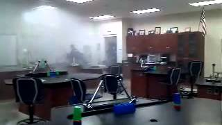 Highschool chemistry lab gets flooded. This is a fail. For licensin...