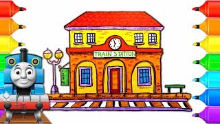 How to Draw Train Station with Thomas and Friends | Drawing Coloring Pages for Children