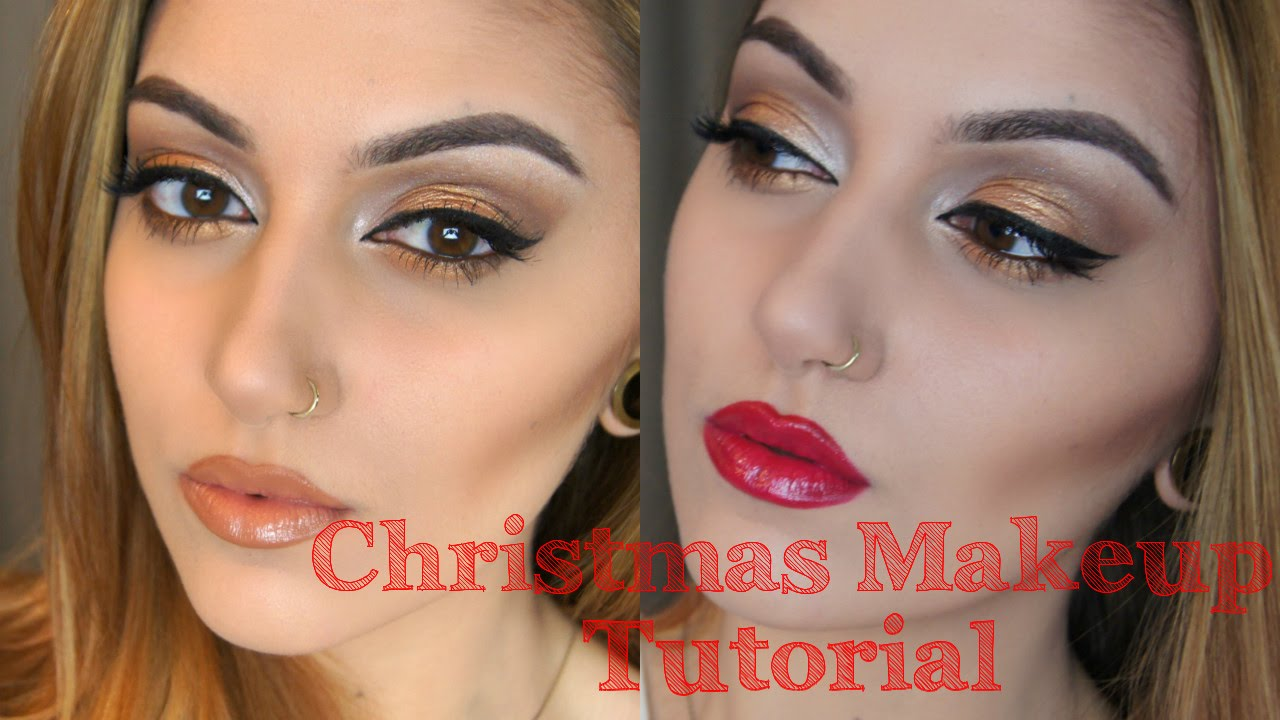 Christmas Day / Party Makeup Tutorial | Look 1 Gold Sparkle - YouTube