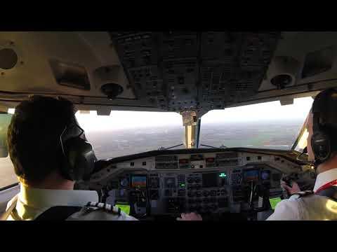 Loganair Saab 340 landing Stansted Airport