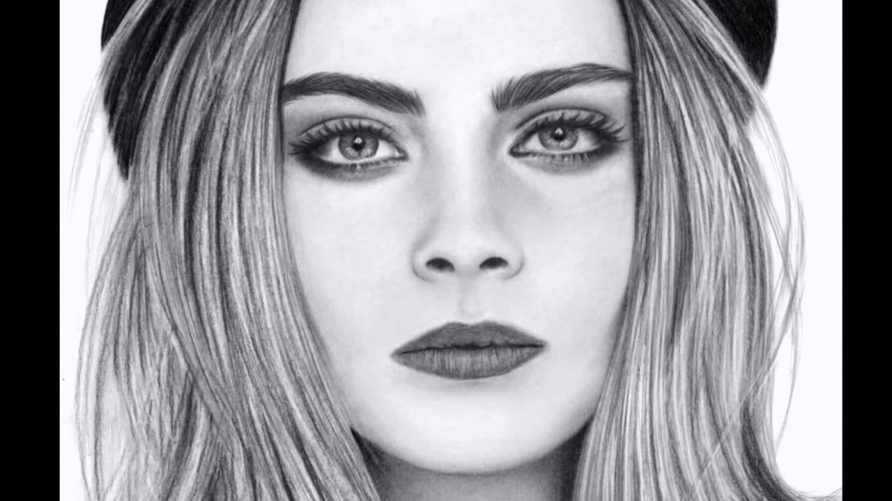 Dibujo a lpiz  Pencil Drawing Cara Delevingne  YouTube