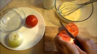 Сочный омлет с томатами и луком. Omelette.