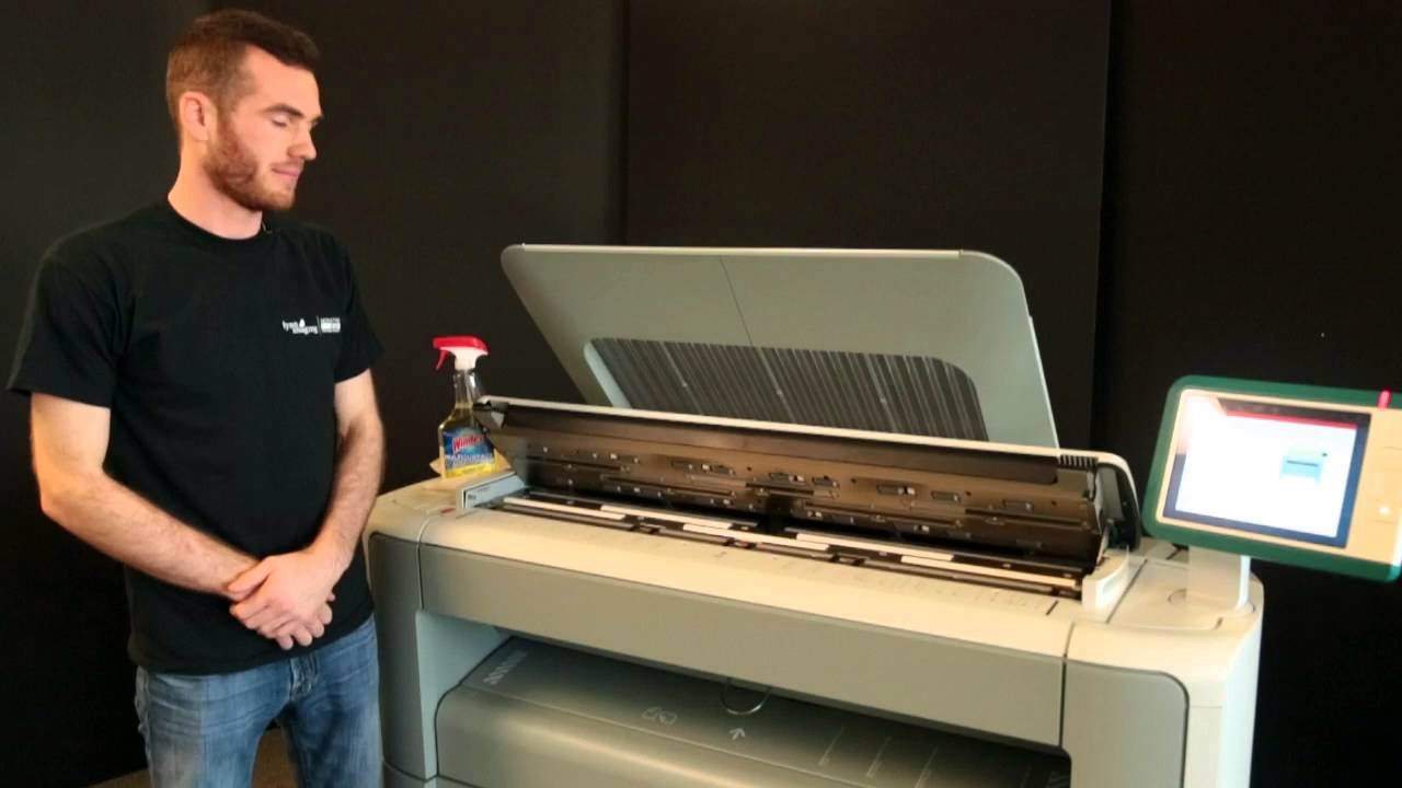 Oce Plotwave 350 How to Clean the Scanner - YouTube on