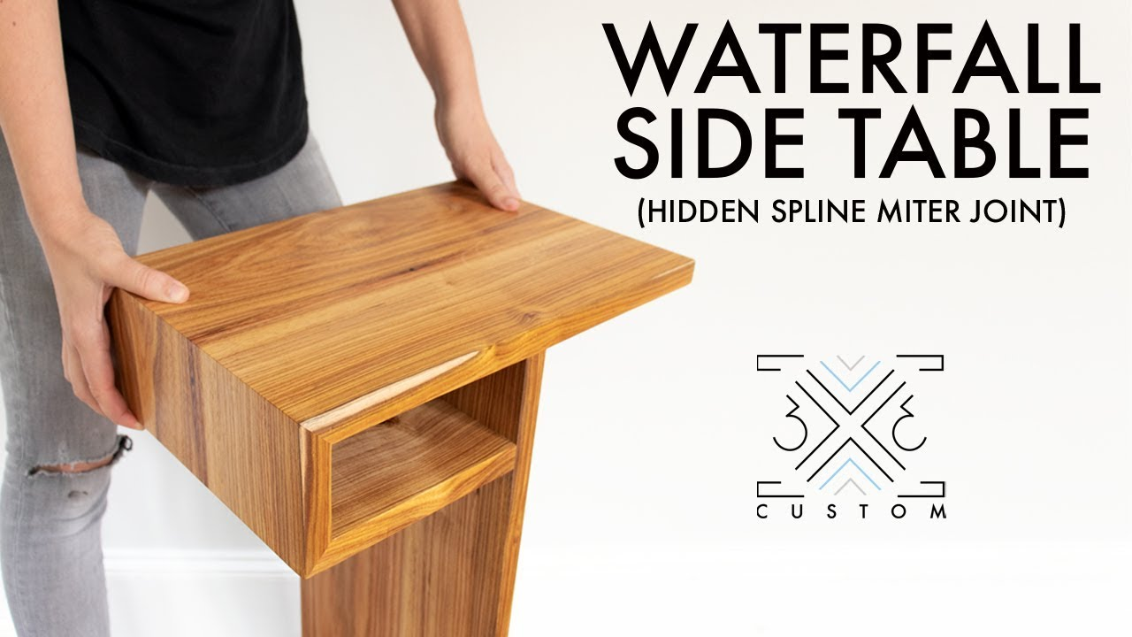 Waterfall End Table With Hidden Spline Miter Joint Woodworking Joinery Modern Diy Furniture Youtube