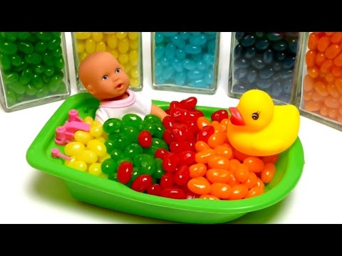 Baby Doll Bath Time In Jelly Belly Candy Beans with Surprise Toys