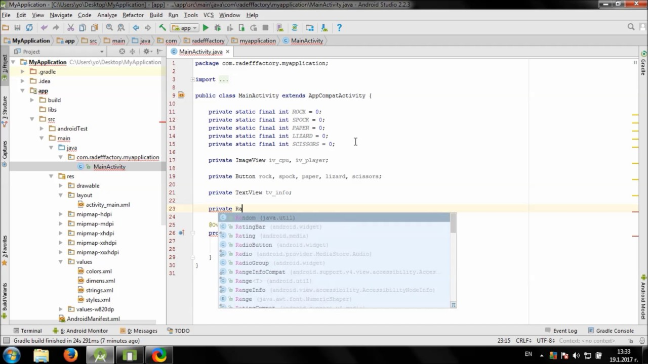 Develop Rock Paper Scissors Lizard Spock game in Android Studio