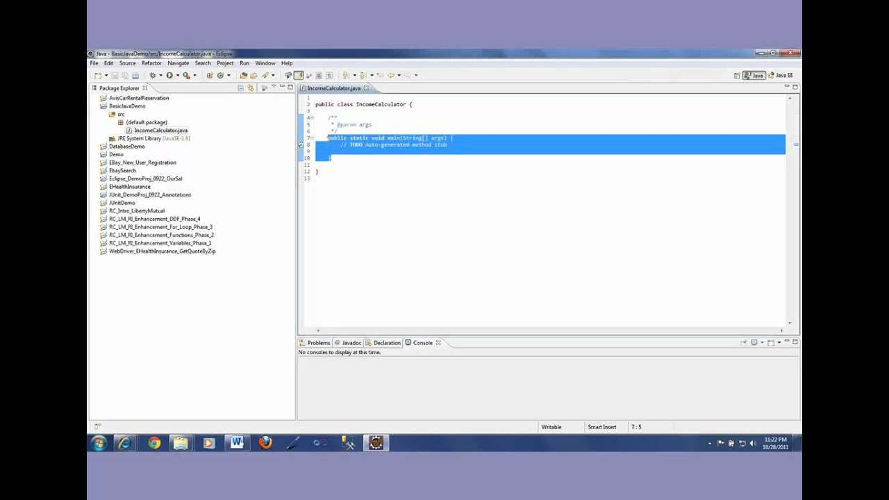 Learn to write Java code in Eclipse for Selenium Testing - Video 1